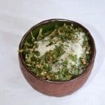 Himalayan Salt with hemp flowers and leaves, green pepper and wild garlic